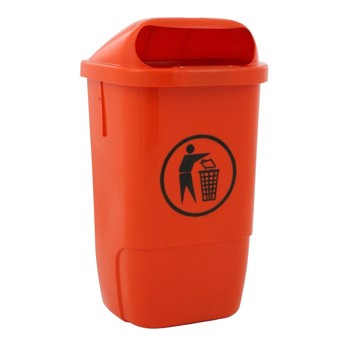 Udendørs affaldsspand, 50 l, orange