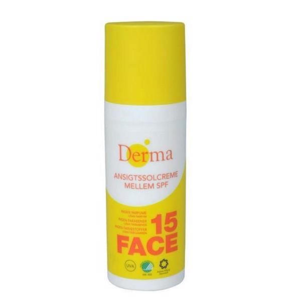 Solcreme, Derma, SPF 15, med Aloe Vera og Pentavitin, 50 ml, 6 stk/krt